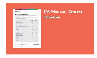 Care and Education Standards and Price List