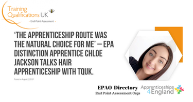 'The apprenticeship route was the natural choice for me' – EPA distinction Apprentice Chloe Jackson talks Hair apprenticeship with TQUK.