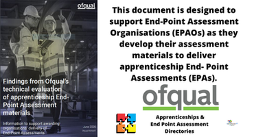 Findings from Ofqual's technical evaluation of apprenticeship End-Point Assessment materials