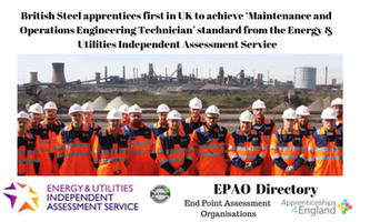 British Steel apprentices first in UK to achieve 'Maintenance and Operations Engineering Technician' standard from the Energy & Utilities Independent Assessment Service