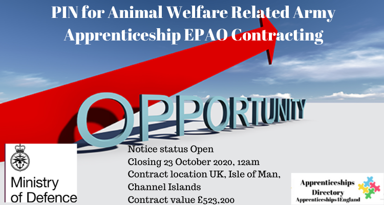 PIN for Animal Welfare Related Army Apprenticeship EPAO Contracting