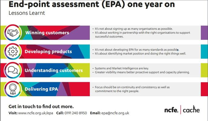 End-point assessment (EPA) one year on Lessons Learnt